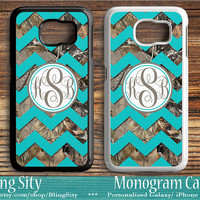Galaxy S6 Edge Case Aqua Chevron Camo Monogram S4 S5 Tough Custom Cover Tree Camo Personalized Samsung S3 Case Note 2 3 4 Country Girl