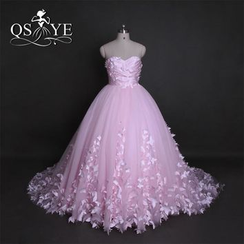 Puffy Pink Quinceanera Dresses Princess Cinderella 3D Flowers Pink Prom Dresses 2017 Women Elegant Cap Sleeve Long Train