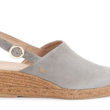 Salionca Suede Espadrille Wedge Clogs - Ash Grey