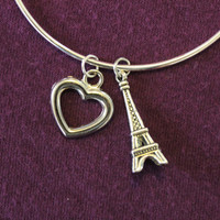 """Silver """"I Love Paris"""" bangle - eiffel tower and heart charms"""