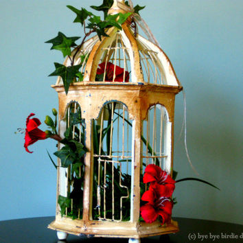 Decorative Birdcage /Pinewood Gazebo Bird cage/ Light Yellow Wood Shabby Chic with Red Flowers and Ivy/ Small