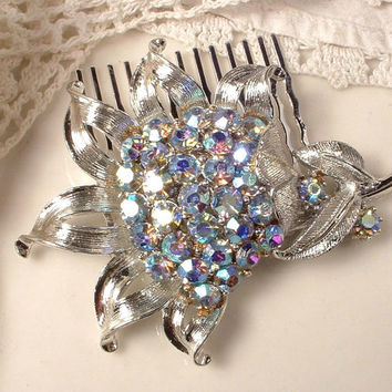 Vintage Something Powder Light Blue Rhinestone Brushed Silver Bridal Hair Comb - Heirloom Designer CORO Brooch Jeweled Silver Plated Comb