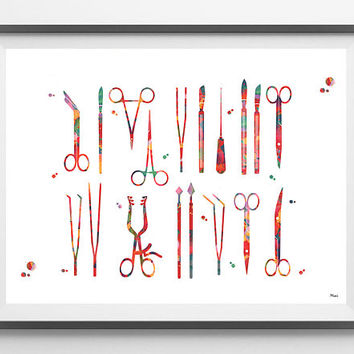 Surgical Tools Watercolor Print Anatomy Art Surgery Art Poster Scalpels Hemostats Clamps Giclee Print Medical Art Scrub NurseWall Art Gift