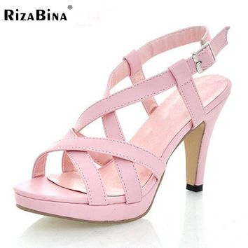 RizaBina Size32-43 Women's High Heel Sandals Gladiator Shoes Women Lady Sexy Platform