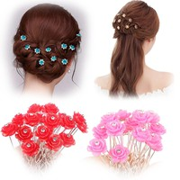 20pcs Crystal Rhinestone Rose Flower Hair Pin Clips Women Wedding Bridal Hair Jewelry Hair Accessories