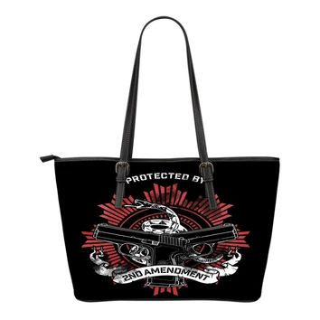 Protected By 2nd Amendment-Small Leather Tote Bag-Free Shipping