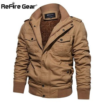 ReFire Gear Winter Warm Tactical Military Jacket Men Air Force Pilot Cargo Army Coat Thermal Thicken Wool Liner Cotton Jackets