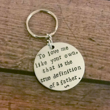 Fathers Day/Step Father Hand Stamped Key Chain
