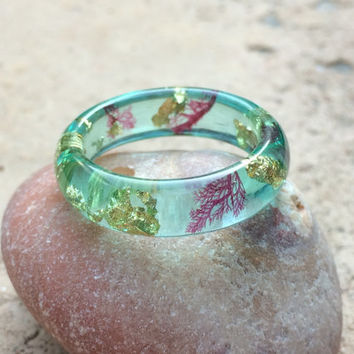 Aqua Sea Life With Gold Resin Ring. Mermaid Ring. Botanical Ring
