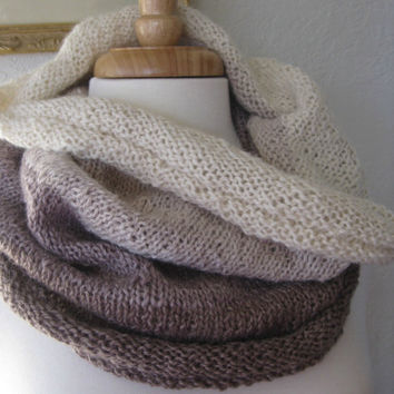 Knit Scarf Snood Alpaca Luxury Cowl  Soft Stripes by SewEcological