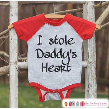 Kids Father's Day Outfit - Red Raglan Shirt - I Stole Daddy's Heart - Baby Boys Happy Father's Day Onepiece or Tshirt - Childrens Raglan Tee