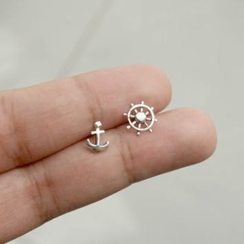 Sterling Silver Anchor and Ship Wheel Stud Earrings - Silver Nautical Stud Earrings - Tiny Stud Earrings - Anchor Jewelry - Ship Wheel, Gift