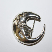 Vintage Brooch Sterling Crescent Moon Man 1970s Jewelry
