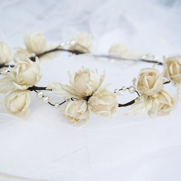 Bridal hair acessories, bridal headband, Floral wedding headpiece, silk flower, bridal hair flower, rustic wedding handmade hair accessories