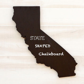 California state shape sign wood cutout wall art Chalkboard. 34 other non-chalkboard colors. Message board, college, dorm, office decor.