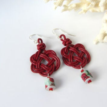 Celtic Christmas Earrings Red Leather Celtic Square Knot with Vintage Floral Paper Bead Dangles Holiday Jewelry