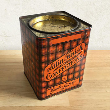 Vintage Candy Tin Can / Satin Finish Confections Brandle & Smith Co Tin / Farmhouse Rustic Kitchen Decor / General Store / Advertising