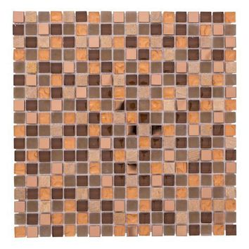 Terra Micro Squares Glass Steel & Stones Mosaic Color Mix Ochre