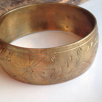 Vintage Brass Bangle, Brass Bracelet, Etched Bracelet, Metal, India, Tribal, Wide Bangle, Etsy, Etsy Jewey