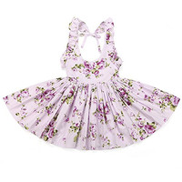 Girls Beach Floral princess dress with Rose Girl Kids Clothes(Purple)