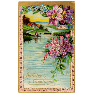 Vintage 1900s Romantic Birthday Greetings Postcard House Scene Pond Floral Border Boat and Dock