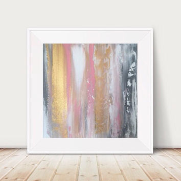 Large pink and gold painting pink and grey painting metallic abstract gold abstract painting metal wall art gold decor pink square artwork