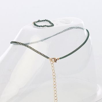 Green Chain Toe Ring And Anklet Set