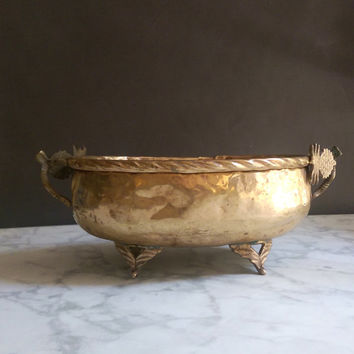 Brass Pineapple Bowl/ Vintage Brass Pineapple Bowl/ Pineapple Bowl/ Vintage Brass Fruit Bowl/ Hammered Brass Bowl/ Antique Brass Footed Bowl