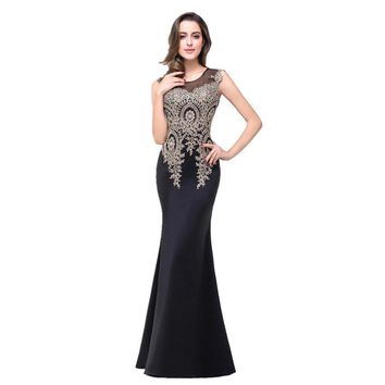 Mermaid Sheer Neck Golden Lace Appliques Nude Pink Long Evening Dresses Evening Gown Party Dress