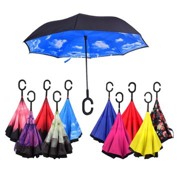 Windproof Reverse Folding Double Layer Inverted Chuva Umbrella Self Stand Inside Out Rain Protection C-Hook Hands Umbrella