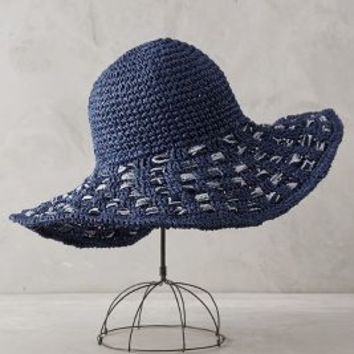 Malta Ribboned Sun Hat by Anthropologie Blue Motif All Scarves