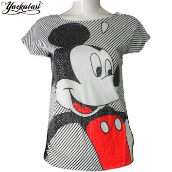 YACKALASI Women T Shirt Summer Casual Lady Top Tees Cotton Slim Striped Tshirt T Shirt Printed Mickey Mouse Top Cute Tee