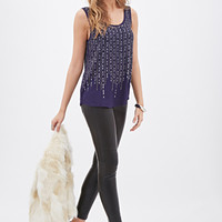 LOVE 21 Beaded Sequin Tank Navy/Gunmetal