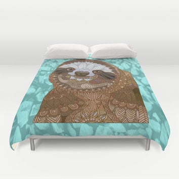 Happy Sloth Duvet Cover by ArtLovePassion