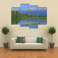 Imperial Lake And Volcano Akita Komagatake Multi Panel Canvas Wall Art