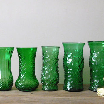 Large Green Glass Vases Set of 5