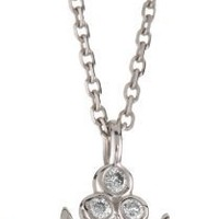"KC Designs ""Trinkets"" Diamond 14k White Gold Crown Pendant, 16"""