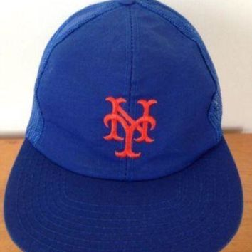 CREYRQ5 Vintage NY New York Mets Mesh Trucker Baseball Cap Hat Snapback Adjustable M-L