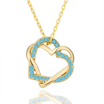 Gold Plated with Saphire Gems Necklace