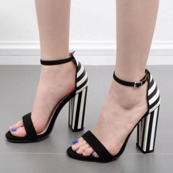 Stripe Ankle Wrap Open Toe Chunky High Heels Sandals