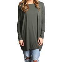 Army Green Piko Long Sleeve Tunic