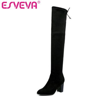 ESVEVA 2017 Western Style Flock Women Boots Over The Knee Boots Winter Square High Heel Ladies Lace Up Fashion Boots Size 34-43