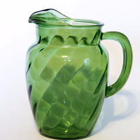 Emerald Green Glass Pitcher | Textured | Diamond | Stripes | Iced Tea | Patio | Sangria | Housewarming Gift | Wedding Gift | Vintage Kitchen