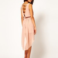 Rare Chiffon Hi Lo Dress With Chain Back at asos.com