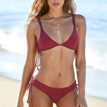 LA Hearts Ribbed Lace-Up Fixed Triangle Bikini Top at PacSun.com