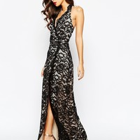 Jarlo Petite Valentia All Over Lace Plunge Maxi Dress With Thigh Split at asos.com
