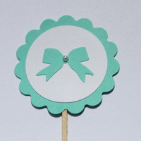 Tiffany Blue Cupcake Toppers- Bridal,Wedding Shower, Baby Shower
