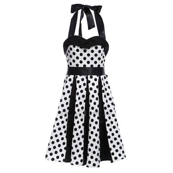 Retro Polka Dot Party Halter Swing A Line Dress
