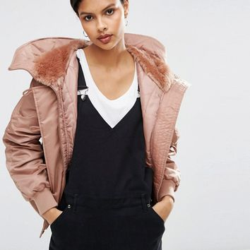 ASOS Bomber Jacket with Faux Fur Hood at asos.com