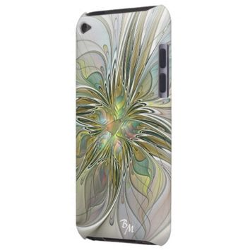 Floral Fantasy, Abstract Fractal Art Monogram iPod Touch Case
